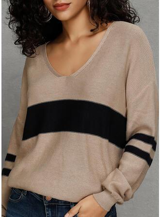 Bloque de Color Cuello en V Casuales Suelto Suéteres