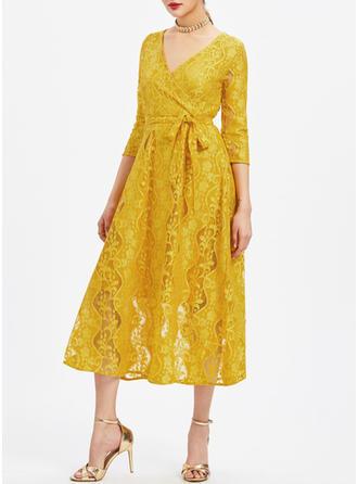 Koronka Solidny Litera V Midi Sukienkę przesunąć
