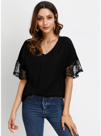 Lace V Neck Flare Sleeve 1/2 Sleeves Casual Elegant Blouses