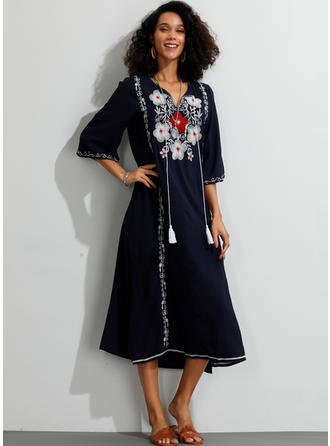 Embroidery/Floral 3/4 Sleeves Shift Midi Casual Dresses