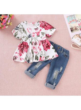 Bébé & Bambin Fille Imprimé floral Coton Jeans,Robe Manches Courtes Définir La Taille