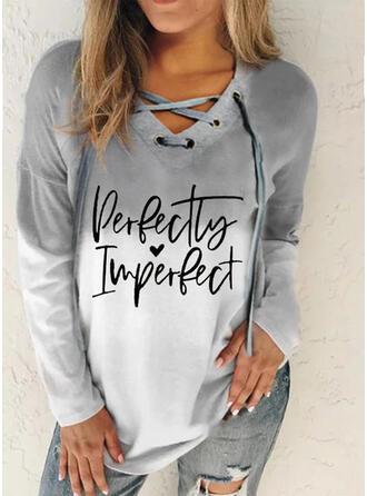 Print Figur Gradient Hjerte V-hals Lange ærmer Sweatshirts