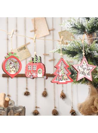 Navidad Colgando Árbol de Navidad Estrella De madera Luces Colgante de navidad Adornos colgantes de árboles