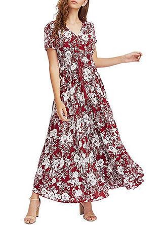 Print/Bohemian/Floral Long Sleeves Shift Maxi Casual/Boho Dresses