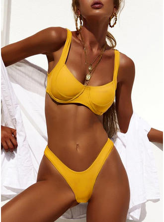 Solid Color V-neck Fashionable Bikinis Swimsuits