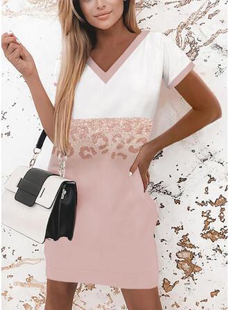 Print/Color Block/Leopard Short Sleeves Shift Above Knee Elegant T-shirt Dresses