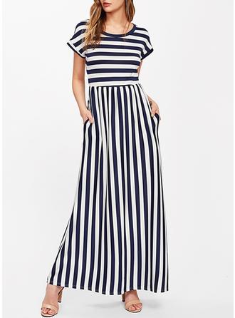 Striped Round Neck Maxi Shift Dress