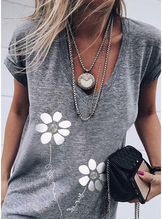 Figure Floral Print Sequins V-Neck Short Sleeves T-shirts