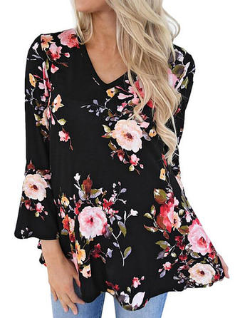 Floral V Neck Flare Sleeve Long Sleeves Casual Elegant Blouses