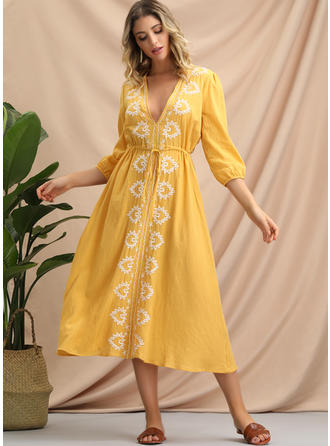 Embroidery 3/4 Sleeves A-line Midi Casual/Boho/Vacation Dresses