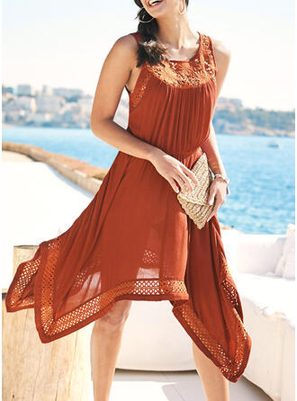 Lace/Solid Sleeveless A-line Asymmetrical Casual/Vacation Dresses
