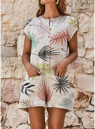Print Round Neck Short Sleeves Casual Romper