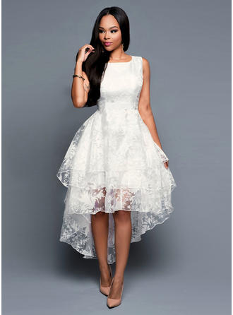 Polyester With Lace Asymmetrical Dress
