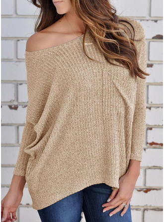 Solid Off the Shoulder Long Sleeves Casual Sexy Knit Blouses