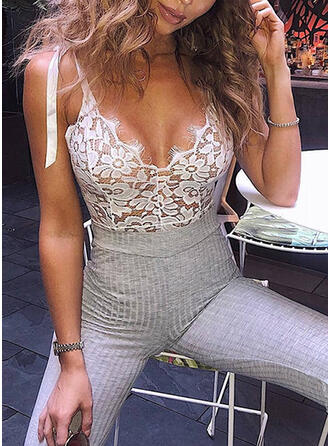 Polyester Lace Floral Mesh Eyelash Lace One Piece Deep V Teddy