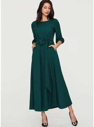 Jednolita Rękawy 1/2 W kształcie litery A Maxi Wintage/Elegancki Sukienki
