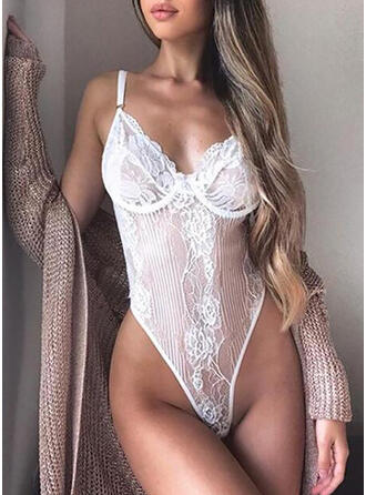 Polyester Lace Embroidery Solid Spaghetti Strap One Piece Teddy