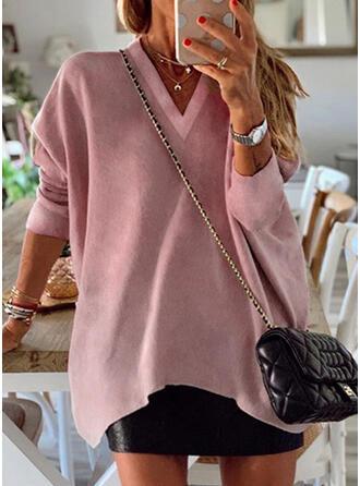 Solide V-hals Lange Mouwen Sweatshirts