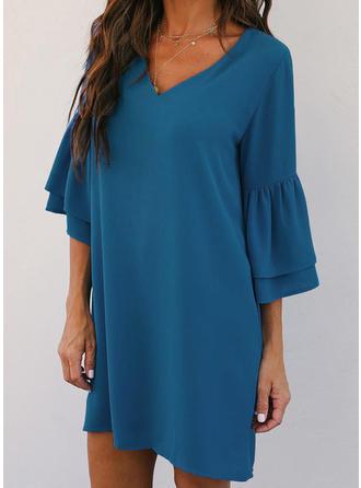 Solid 3/4 Sleeves Shift Above Knee Little Black Dresses