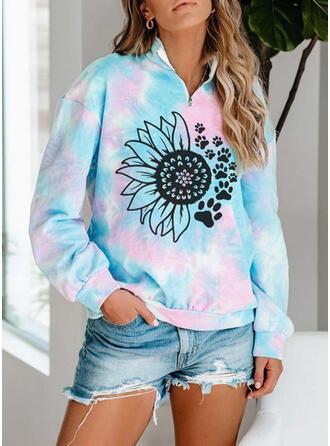 Bloemen Dierenprint Tie dye kleurstof V-hals Lange Mouwen Sweatshirts