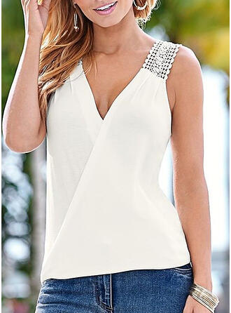 Solid V Neck Sleeveless Casual Sexy Blouses