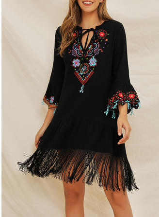Embroidery/Floral 3/4 Sleeves Shift Knee Length Casual/Boho/Vacation Dresses