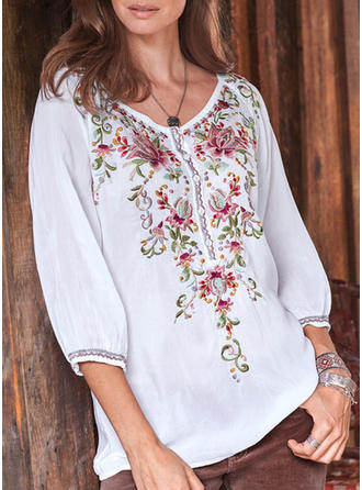 Print Floral V neck 3/4 Sleeves Button Up Casual Elegant Blouses
