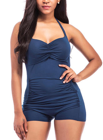 Solid Color Sexy Plus Size One-piece Swimsuits