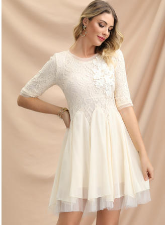 Lace/Solid 1/2 Sleeves A-line Above Knee Party Dresses