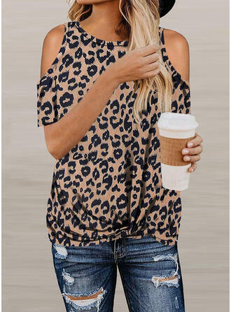 Animal Print Cold Shoulder Short Sleeves Casual T-shirts