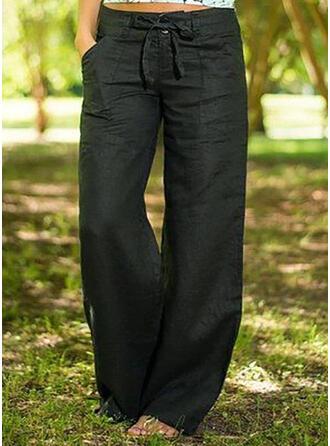 Bolsillos Bowknot Largo Boho Casual Sólido Pantalones