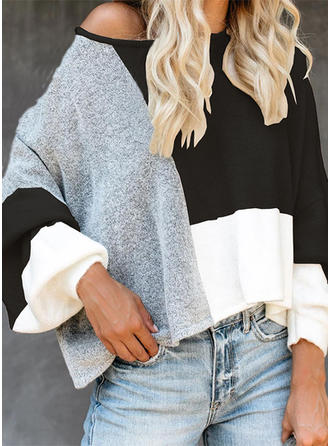 Blok Kolorów Okrągły dekolt Swetry