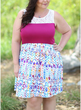 Lace/Print Sleeveless A-line Knee Length Casual/Plus Size Dresses