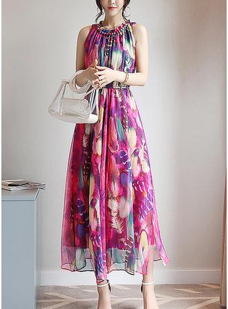 Wydrukować Kwiatowy Ruffles Okrągły Dekolt Midi Sukienka Trapezowa