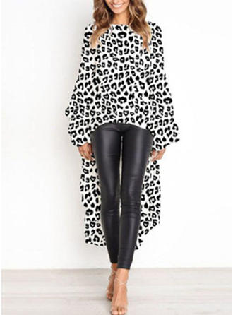 Animal Print Round Neck Long Sleeves Casual Elegant Sexy Blouses