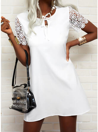 Lace/Solid Short Sleeves Shift Above Knee Elegant Tunic Dresses