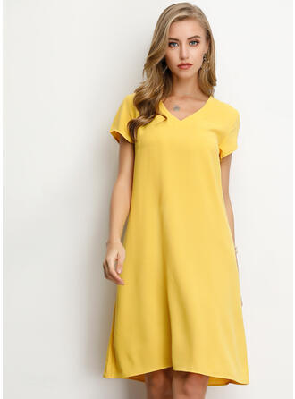 76cb24a7ba quick view Solid Short Sleeves Shift Knee Length Casual/Vacation Dresses