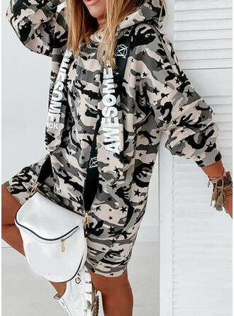 Print/Camouflage Long Sleeves Shift Knee Length Casual Sweatshirt Dresses