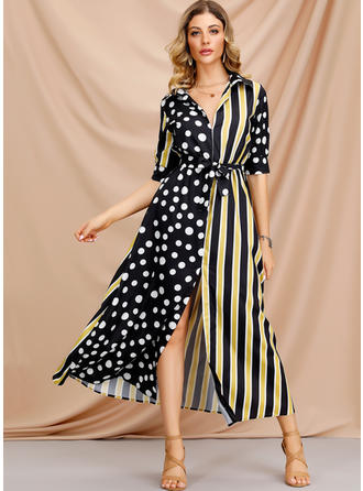 Print/PolkaDot/Striped 1/2 Sleeves A-line Midi Casual/Elegant Dresses