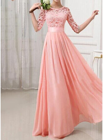 Chiffon With Lace Maxi Dress