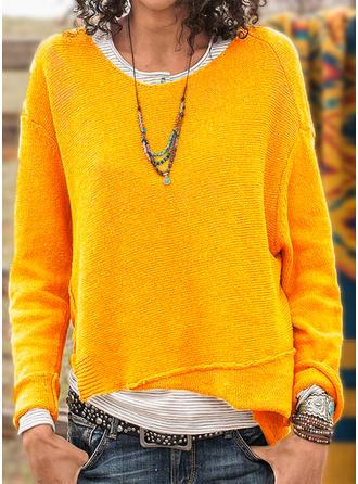 Einfarbig Gitter Rundhalsausschnitt Pullover