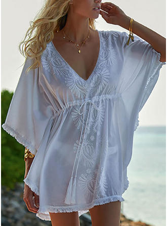 Solid Color V-Neck Elegant Fashionable Beautiful Cover-ups Swimsuits