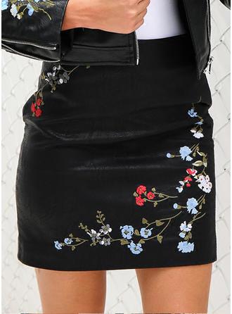 Leather/PU Embroidery Mini Bodycon Skirts