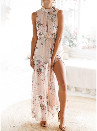 Bohemian/Floral/Slit Sleeveless Shift Maxi Casual/Vacation Dresses