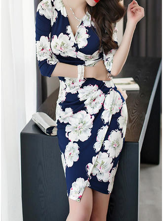 Print/Floral 1/2 Sleeves Sheath Above Knee Casual/Elegant Dresses