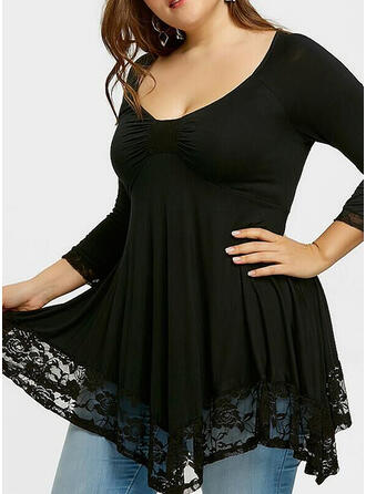 Lace/Solid Long Sleeves A-line Above Knee Casual/Elegant/Plus Size Dresses