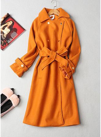 Polyester Long Sleeves Plain Blend Coats
