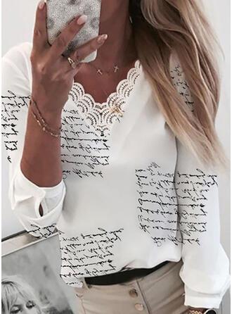 Stampa Pizzo Figura Scollatura a V Maniche lunghe Casuale Camicie (1003335188)