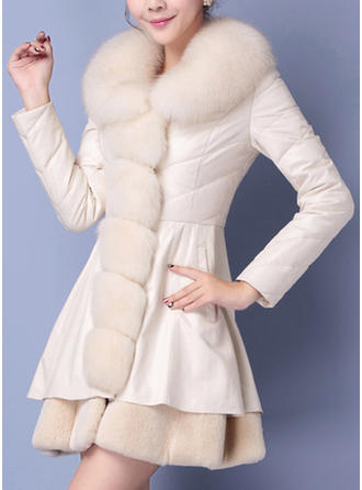 Faux Fur Long Sleeves Plain Slim Fit Coats