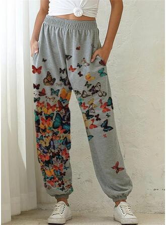 Impresión Talla extra Cordón Largo Casual Deportivo Pantalones